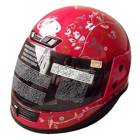 「ASIA Breeze A801」花紋全罩式安全帽 桃紅