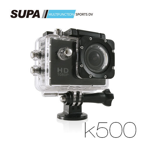 SUPA 速霸 K500 1080P 極限運動防水型攝影機-超強版 (汽機車兩用加送16pchome 行車紀錄器TF卡)