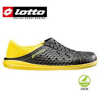 LOTTO 超輕量懶人洞洞鞋男女款-黑/黃色(22~28cm)