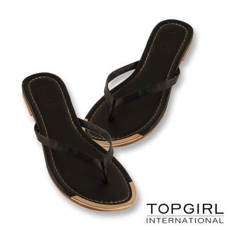 TOP GIRL 輕盈亮感夾腳拖鞋-金亮黑