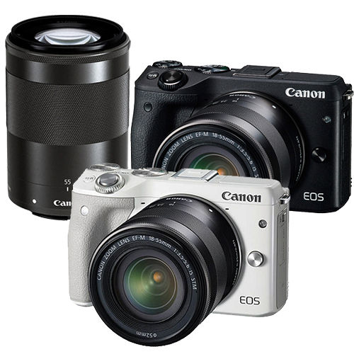 Canon EOS M3 18-55mm STM + 55-200mm STM (公司貨).-32GC10卡+國家地理W2160內袋+大吹球+拭鏡筆+拭鏡布+保護貼