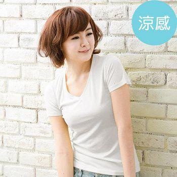 ROUAN柔安 台灣製冰涼衣-短袖V領T恤 (白)