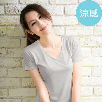 ROUAN柔安 台灣製冰涼衣-短袖V領T恤 (灰)