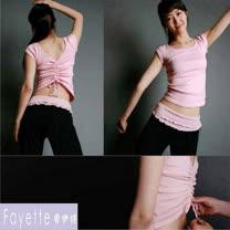【Fayette 費伊特】瑜珈套裝 二件套 上身加長褲 具彈力-短袖-粉上衣黑長褲