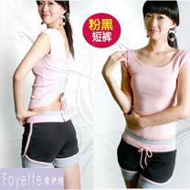 【Fayette 費伊特】瑜珈套裝 二件套 上身加褲子 具彈力-短袖-粉上衣/黑短褲
