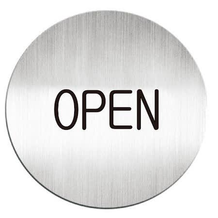 【迪多 deflect-o】611110C 鋁質圓形貼牌/指示標語/營業中 (英文)『OPEN』