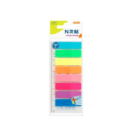 【N次貼】66507 8色-螢光透明標籤/memo/便條紙 (160張/包)