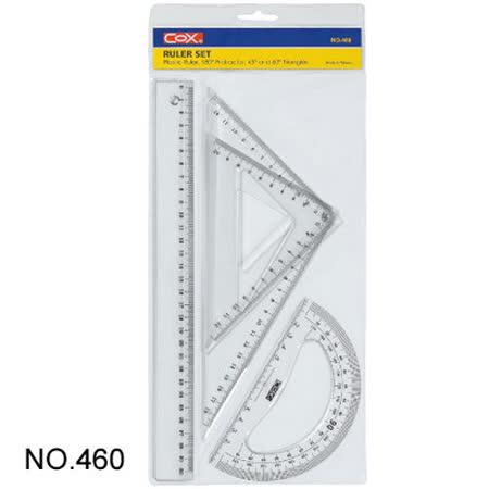 【三燕 COX】NO.460 塑膠尺組/三角尺/量角器 (三角板/30cm 直尺/半圓)