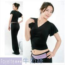 【Fayette 費伊特】瑜珈套裝 荷葉袖 短袖加長褲 二件套 (牛奶絲料)黑衣黑褲