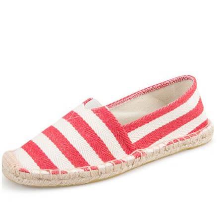 【Maya easy】快樂情侶鞋 35-43號 止滑平底內草編底鞋型 懶人套腳鞋 帆布鞋 休閒鞋 男女鞋-紅條紋