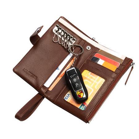 PUSH! 男士多卡位頭層牛皮鑰匙包拉鍊式皮夾零錢包精品(防盜手腕帶款push12)
