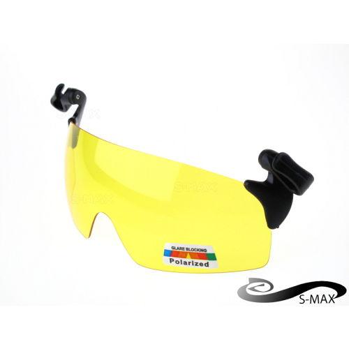 濾藍光~ 夾帽式~S~MAX代理品牌~ Polarized寶麗來黃偏光夜用眼鏡 單車 開車