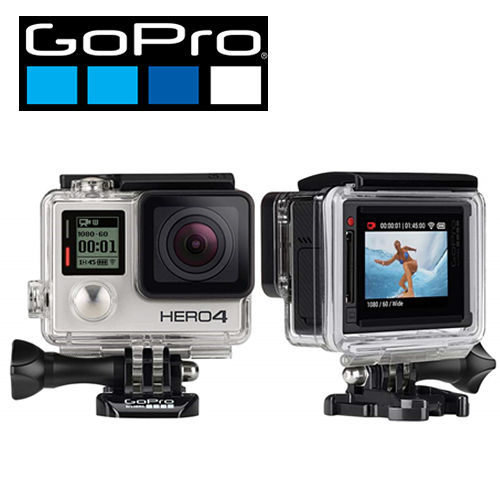 GoPro HERO 4 專業觸控銀色版-奔放騎客極限組(公司貨行車紀錄器 監視器)-加送micro32G記憶卡+原廠電池+小圓管車座+原廠充電座+HDMI線