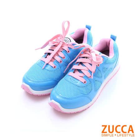 ZUCCA【Z-5722BE】運動女孩透氣網紗超輕慢跑鞋-藍色