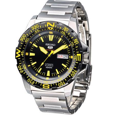 SEIKO 5號機械錶光速炫風運動風男錶-黃刻(SRP545K1)