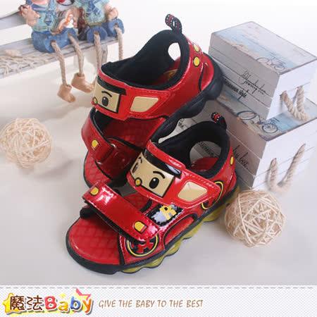 魔法Baby~ 台灣製POLI授權正版兒童閃燈涼鞋 sa51222
