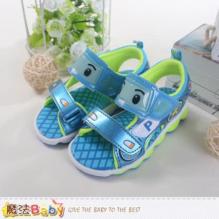 魔法Baby~ 台灣製POLI授權正版兒童閃燈涼鞋 sa51226