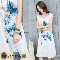 【Maya 名媛春夏】(M~2XL)圓領 半袖 收腰版型 藝術水彩花朵圖款 中長裙連衣裙-白色