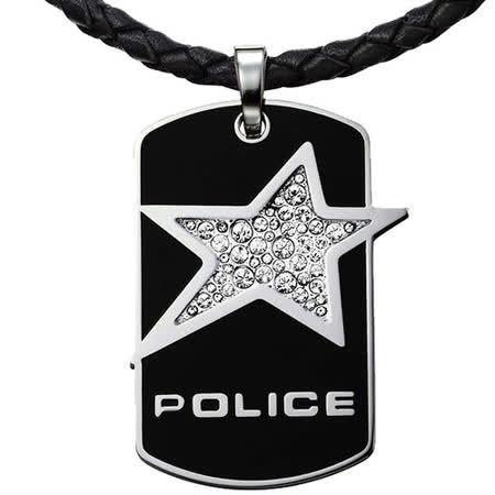 POLICE  Rocrstar搖滾之星皮繩項鍊-黑