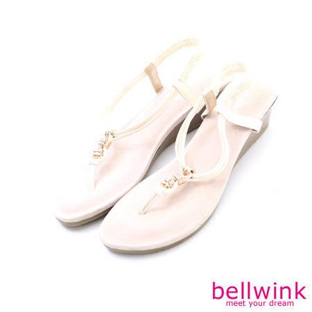 bellwink【B-9105WE】日系亮鑽繩紋T字夾腳涼鞋-白色