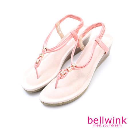 bellwink【B-9105PK】日系亮鑽繩紋T字夾腳涼鞋-粉色