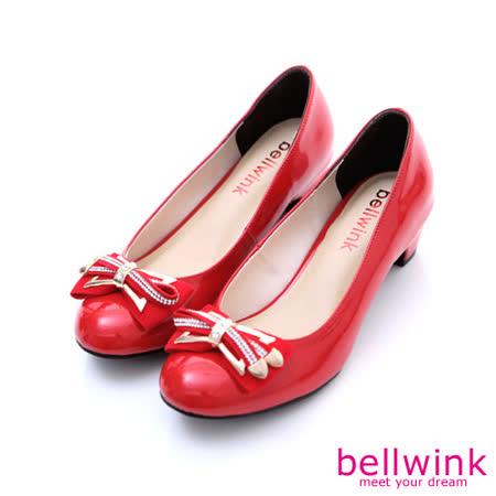 bellwink【B-9114RD】雙層閃鑽金屬朵結低跟鞋-紅色