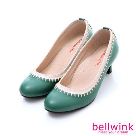 bellwink【B-9116GN】日系皮革車線編織圓頭跟鞋-綠色