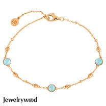 Jewelrywood 純銀拜占庭復古海藍寶手鍊