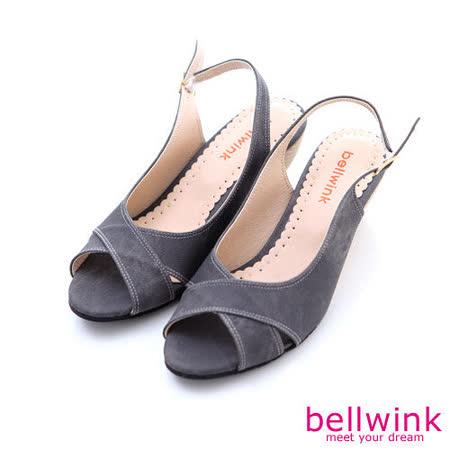 bellwink【B-9118GY】皮革交錯紋露趾扣環低跟鞋-灰色
