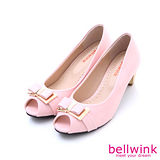 bellwink【B-9119PK】甜美金屬朵結露趾低跟包鞋-粉色