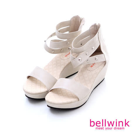 bellwink【B-9121WE】圓鉚釘露趾後拉鍊平底涼鞋-白色