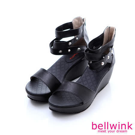 bellwink【B-9121BK】圓鉚釘露趾後拉鍊平底涼鞋-黑色