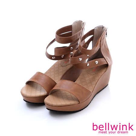 bellwink【B-9121CL】圓鉚釘露趾後拉鍊平底涼鞋-駝色