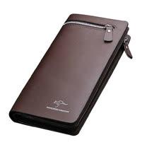 PUSH! 男士長夾頭層牛皮手拿包手拎包商務包隨身包生日禮物(可放手機)push03