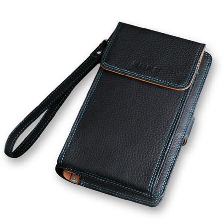 PUSH!短夾5.7吋手機荔枝紋頭層牛皮夾零錢包手機套手機包保護皮套push07