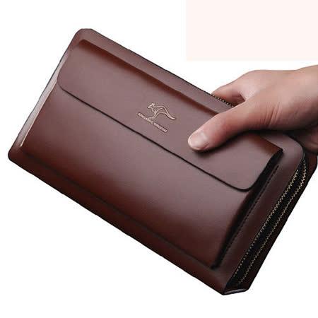 PUSH! 男士長夾頭層牛皮手拎包商務包隨身包可放7吋平板 5390256