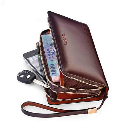 PUSH! 男士長夾頂級牛皮手拿包手拎包商務包隨身包精品生日禮物(雙防盜手帶款)3310