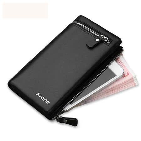PUSH!男士長夾可放5吋手機的雙拉鍊式皮夾頭層牛皮零錢包手機套 push02