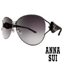 Anna Sui日本安娜蘇復古時尚經典蝴蝶水鑽鑲嵌金屬精雕造型太陽眼鏡(黑) AS874-900