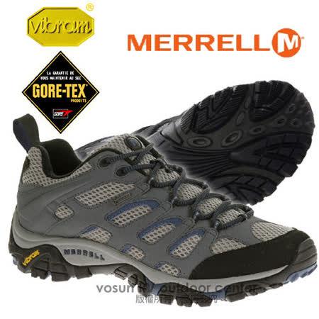 【美國 MERRELL】男新款 Moab GORE-TEX XCR 專業防水透氣中筒登山健行鞋_灰/藍 ML65269