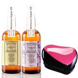 PARFUM。帕芬名牌香水摩洛哥護髮油100ml*2(白麝香+紅玫瑰)+魔髮梳