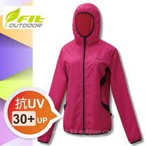 【FIT】女新款 吸排抗UV防曬連帽外套_桃紅色 GS2302