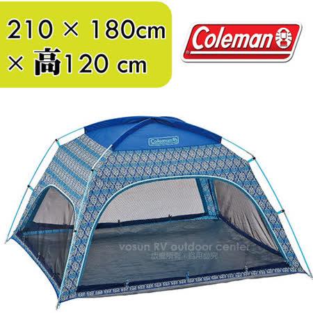 【美國Coleman】藍葉圖騰遮陽帳篷210×180cm_CM-22107