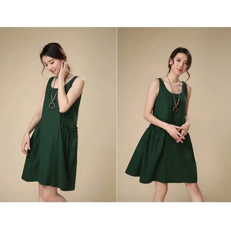 【Maya Collection】新文藝清復古透氣棉麻無袖連衣裙(綠色)