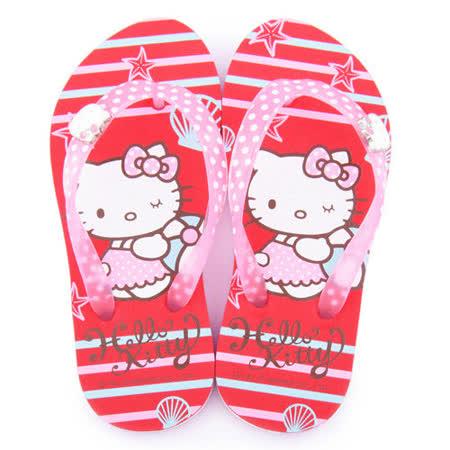 童鞋城堡-Hello Kitty 中大童 海洋氣息夾腳拖815762-紅