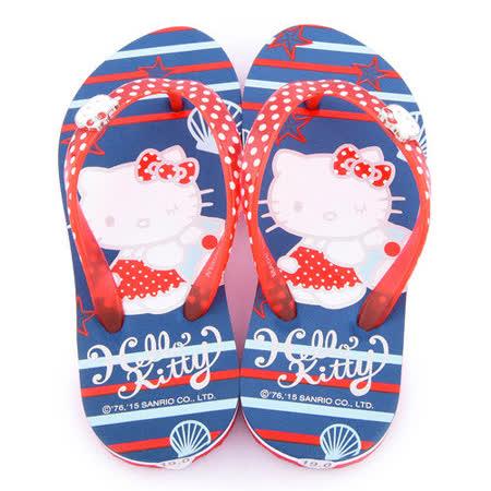 童鞋城堡-Hello Kitty 中大童 海洋氣息夾腳拖815762-藍