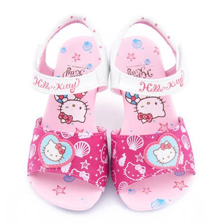 童鞋城堡-Hello kitty 中大童 典雅低跟涼鞋815754-桃