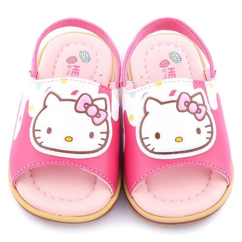 童鞋城堡-Hello kitty 小童 超纖舒適後帶拖鞋815771-桃
