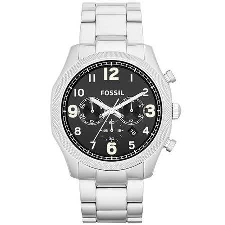 FOSSIL 鋼鐵力士三眼計時碼錶-銀帶黑