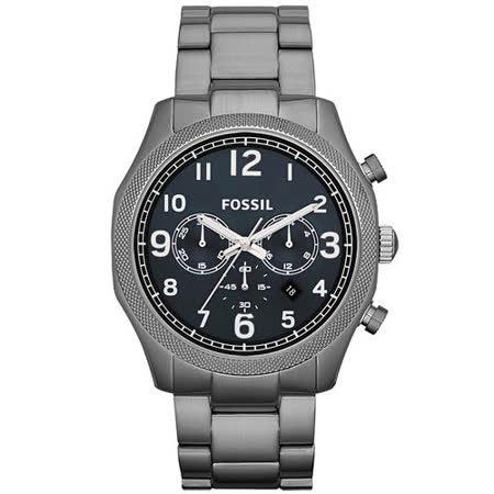 FOSSIL 鋼鐵力士三眼計時碼錶-鐵灰